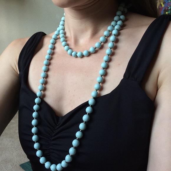 Vintage Jewelry - Vintage Creamy Baby Blue Stone Bead Necklace